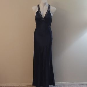 Navy blue prom dress with bust beading